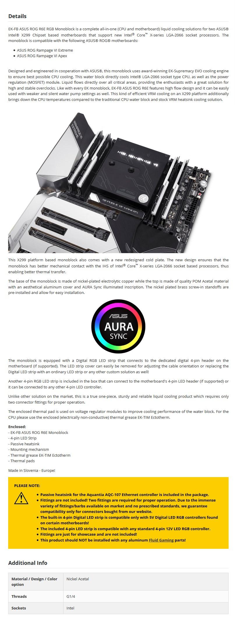 EKWB EK-FB ASUS ROG R6E RGB Monoblock - Acetal+Nickel - Desktop Overview 1