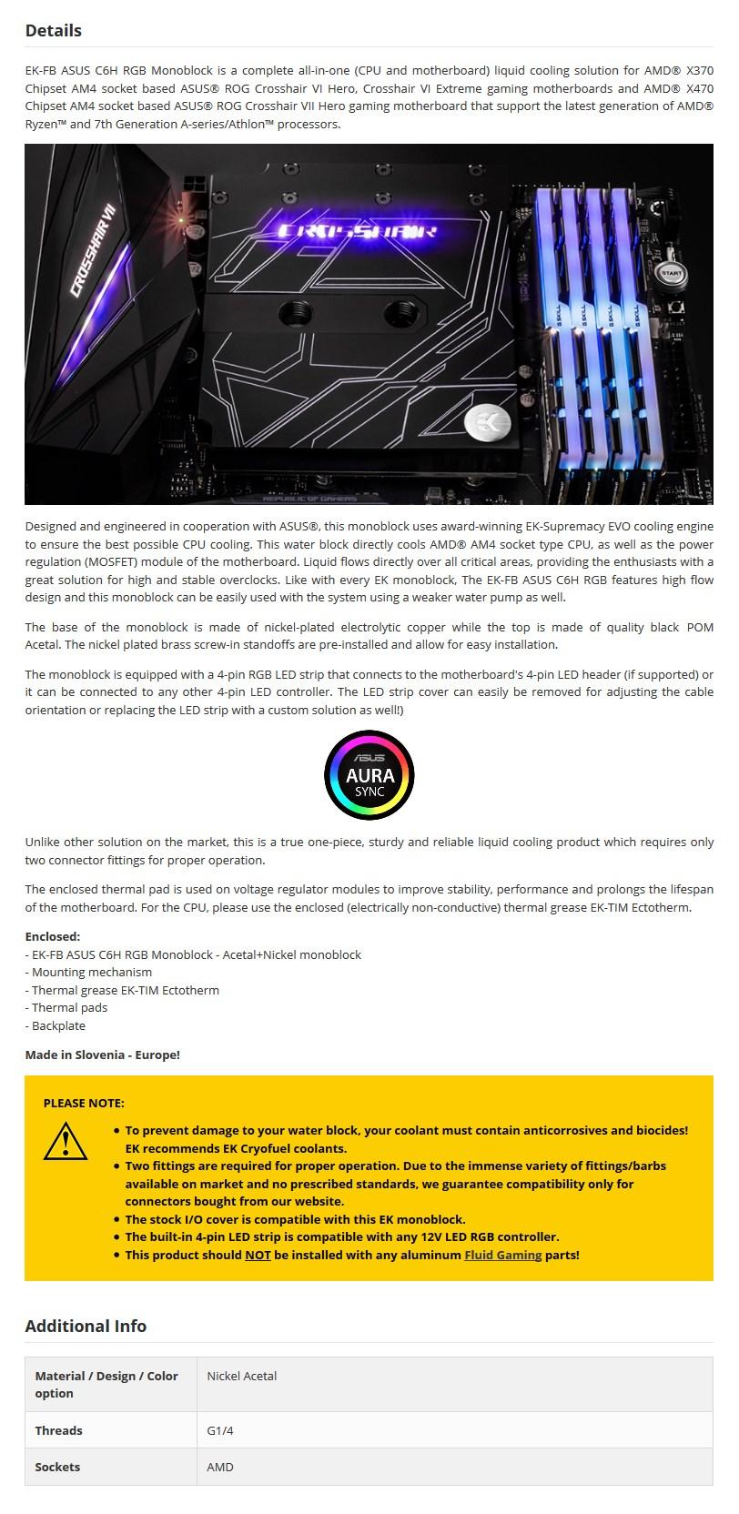 EKWB EK-FB ASUS C6H RGB Monoblock - Acetal+Nickel - Desktop Overview 2