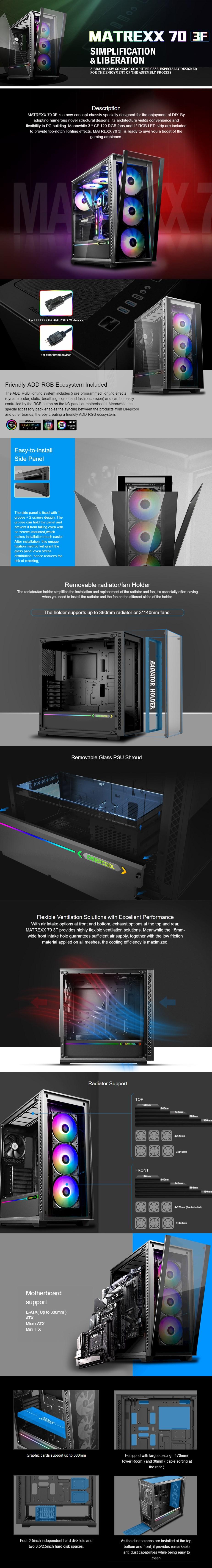 Deepcool Matrexx 70 3F Tempered Glass RGB Mid-Tower E-ATX Case - Desktop Overview 1