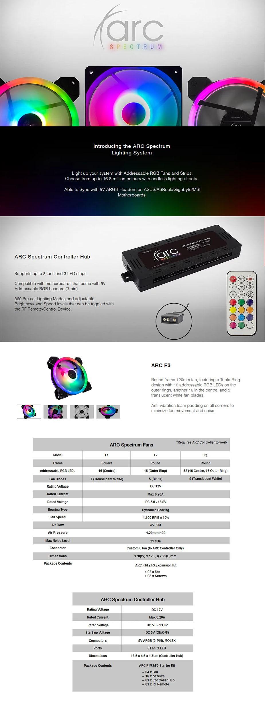 Tecware ARC Spectrum F3 120mm RGB LED Fan Starter Kit - Overview 1