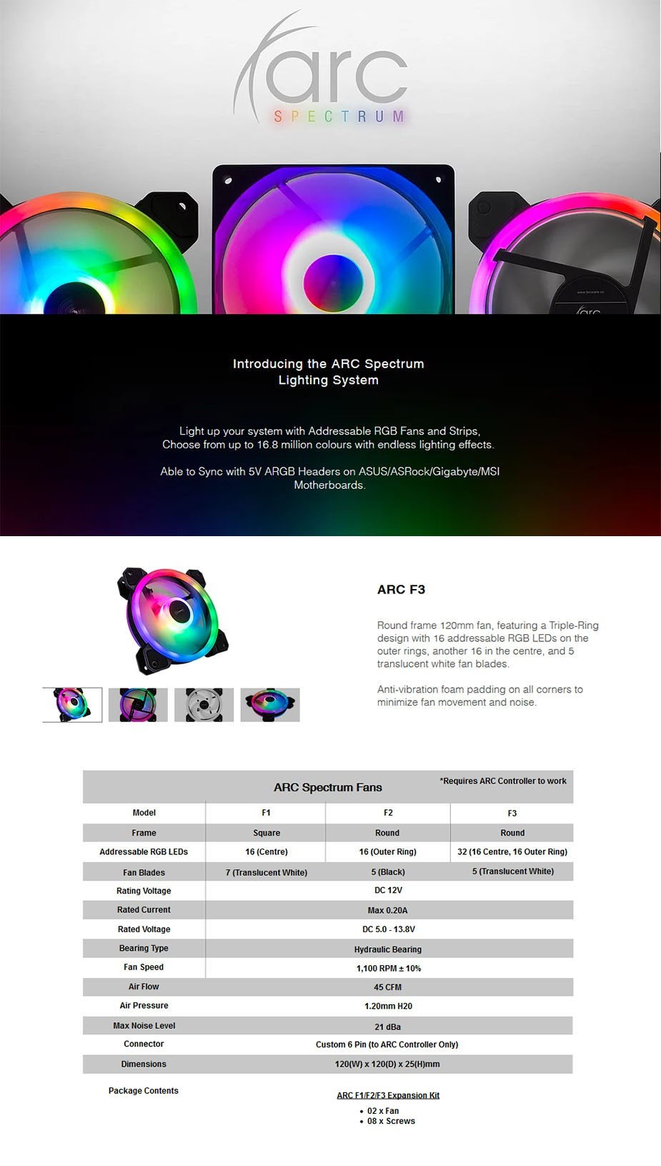 Tecware ARC Spectrum F3 120mm RGB LED Fan Expansion Kit - Overview 1