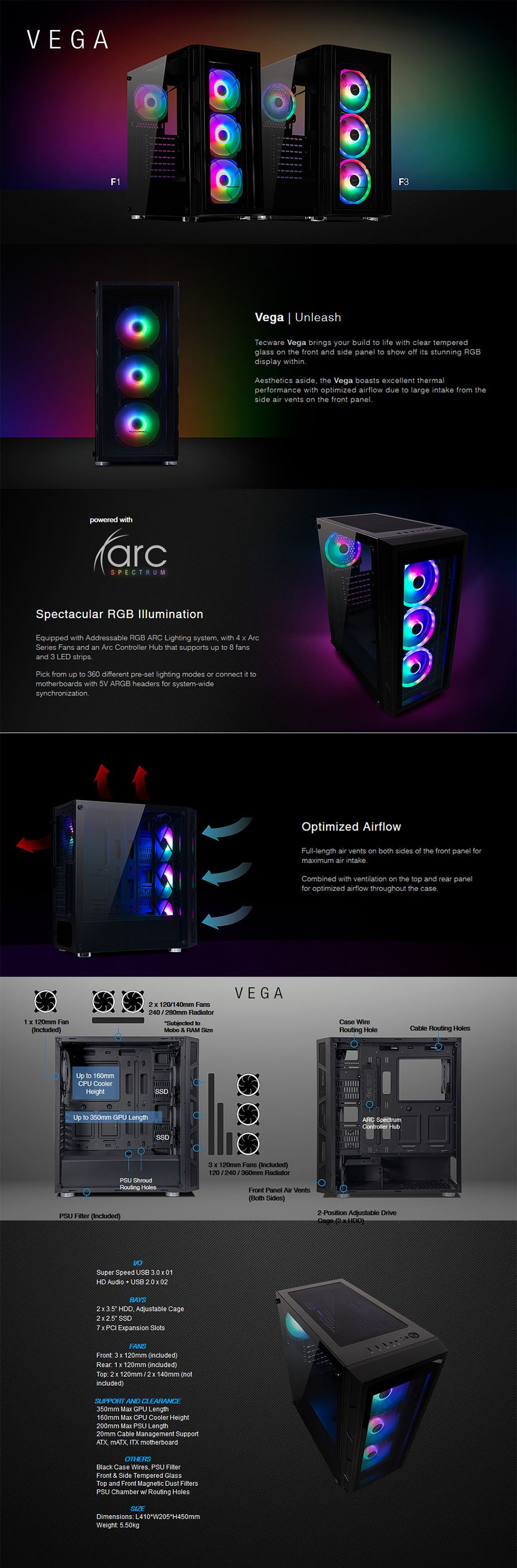 Tecware Vega F3 Tempered Glass Mid Tower ATX Case - Black - Overview 1
