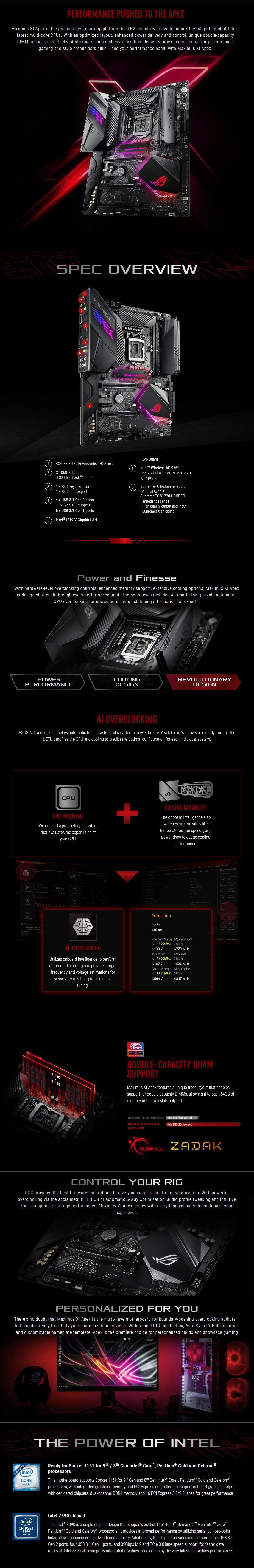 ASUS ROG Z390 MAXIMUS XI APEX LGA 1151 ATX Motherboard - Overview 1