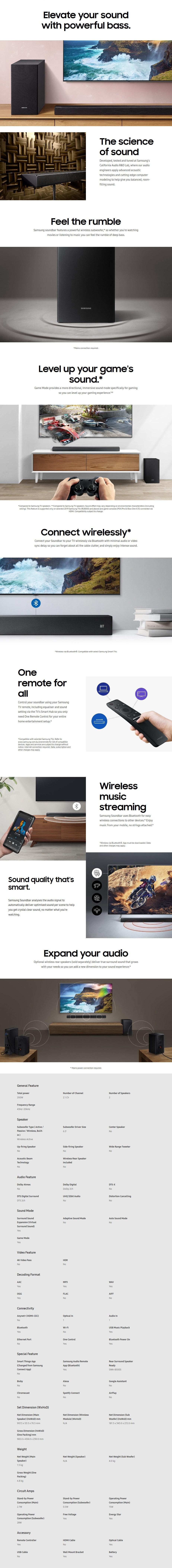 Samsung Series 4 HW-R450 2 1 Bluetooth Soundbar - HW-R450/XY | Mwave