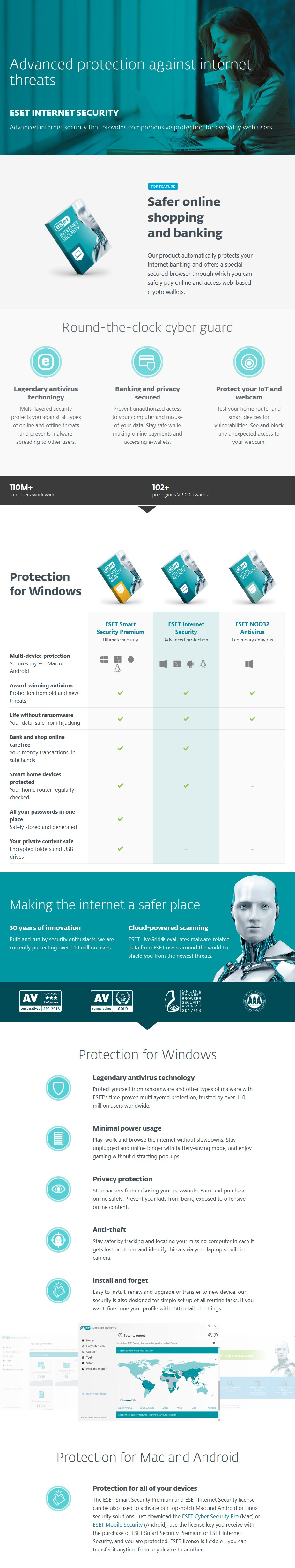 ESET Internet Security OEM Retail Card - 3 Devices 1 Year  - Desktop Overview 1
