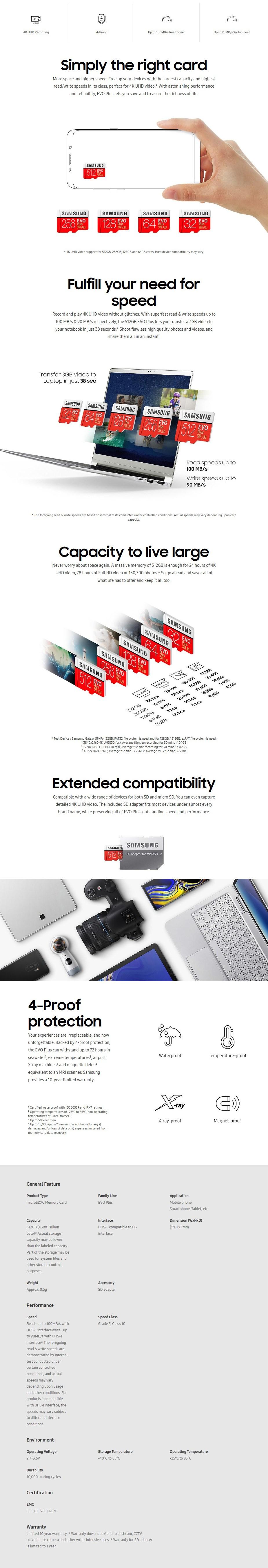 Samsung 512GB MicroSDXC EVO Plus UHS-I Class 10 Memory Card - 100MB/s - Desktop Overview 1