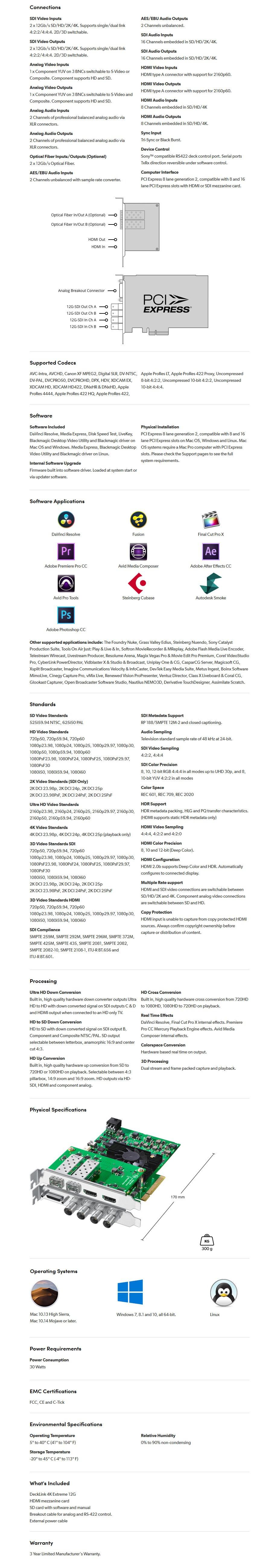 Blackmagic Design DeckLink 4K Extreme 12G Capture/Playback Card - Overview 1