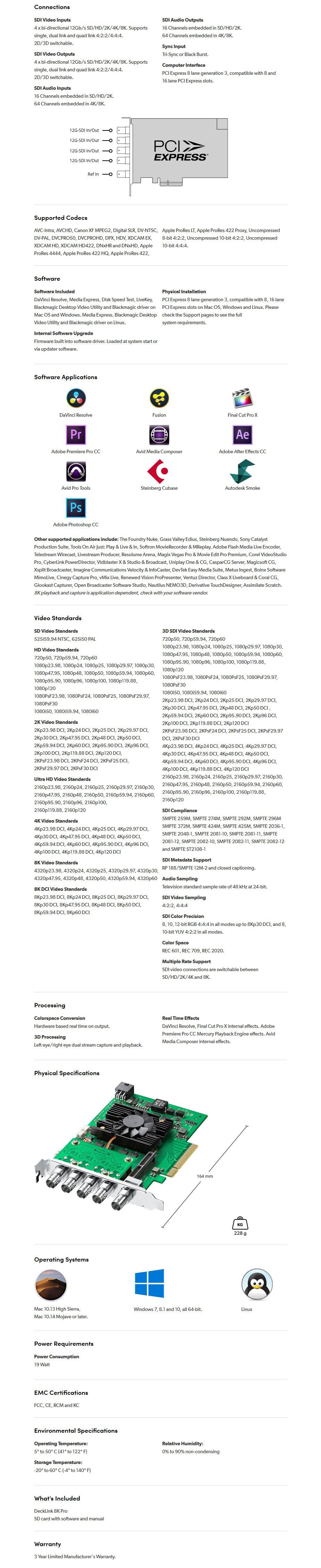 Blackmagic Design DeckLink 8K Pro Capture Card - Overview 2