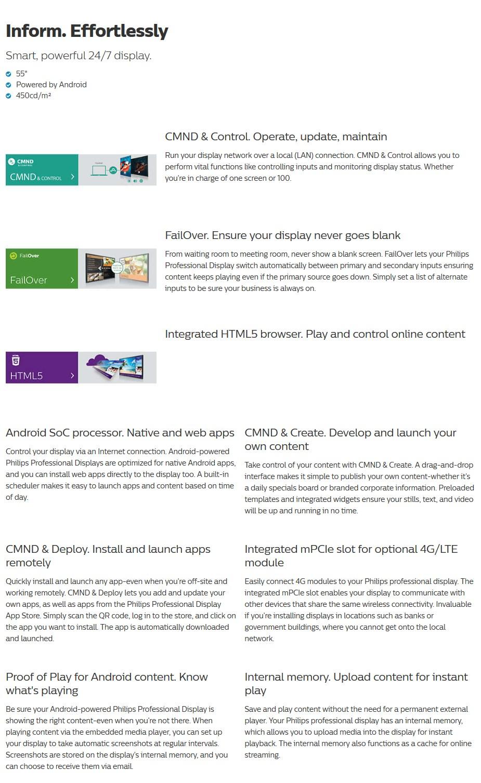 """Philips D-Line 55BDL4050D 55"""" Full HD Android LED 24/7 Digital Signage - Desktop Overview 1"""