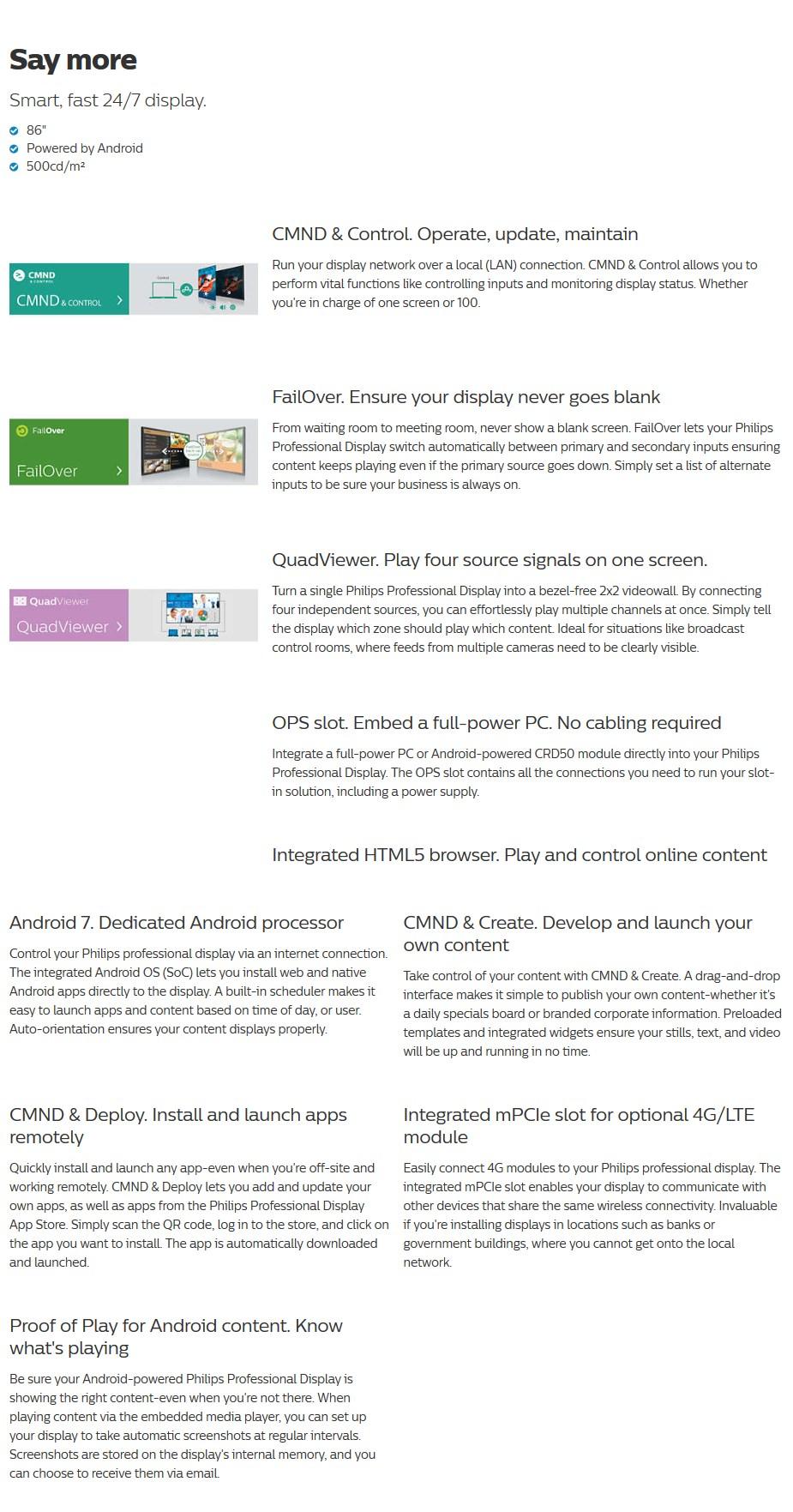 """Philips D-Line 86BDL4150D 86"""" 4K UHD Android LED 24/7 Digital Signage - Desktop Overview 1"""