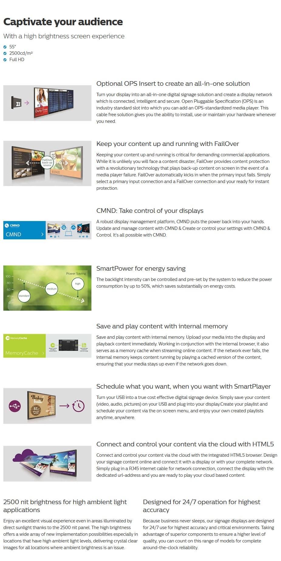 """Philips H-Line 55BDL3102H 55"""" Full HD Ultra-Bright LED 24/7 Digital Signage - Desktop Overview 1"""