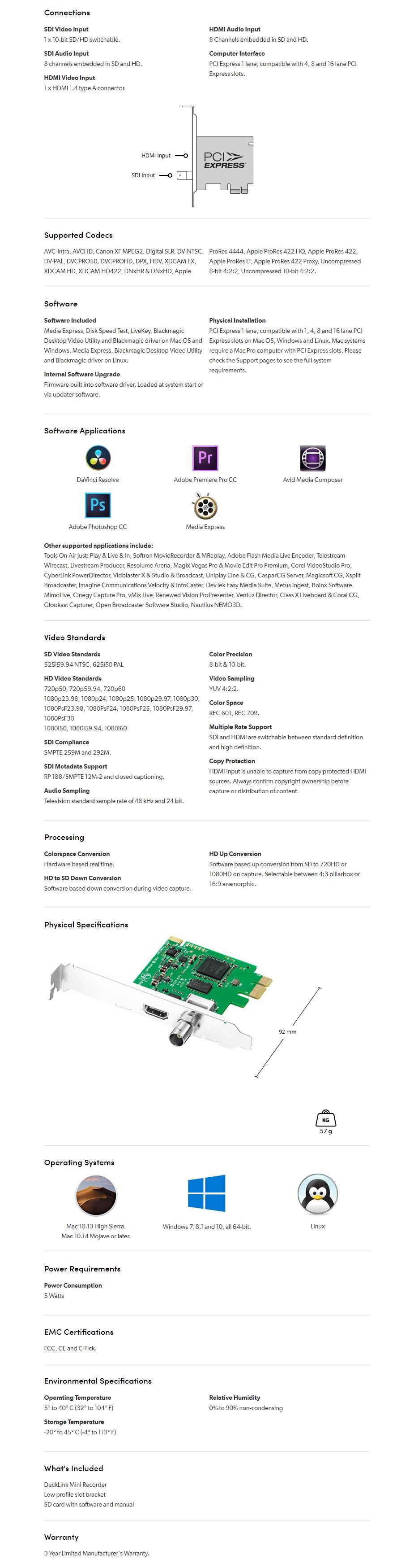 Blackmagic Design DeckLink Mini Recorder - Overview 1