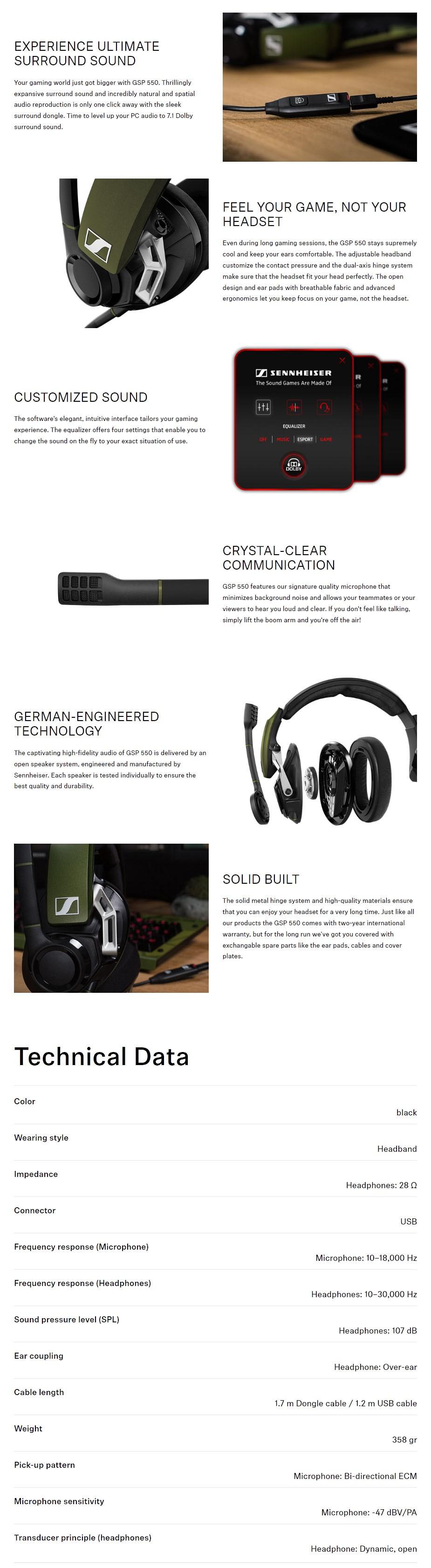 Sennheiser GSP 550 7.1 Surround Sound USB Gaming Headset - Overview 1