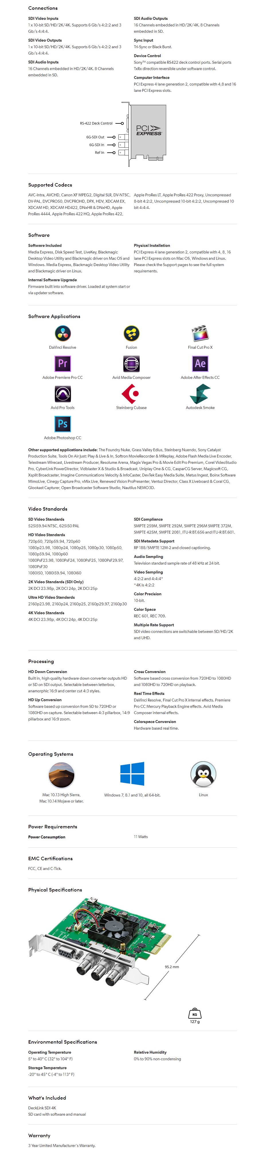 Blackmagic Design DeckLink SDI 4K Capture/Playback Card - Overview 1