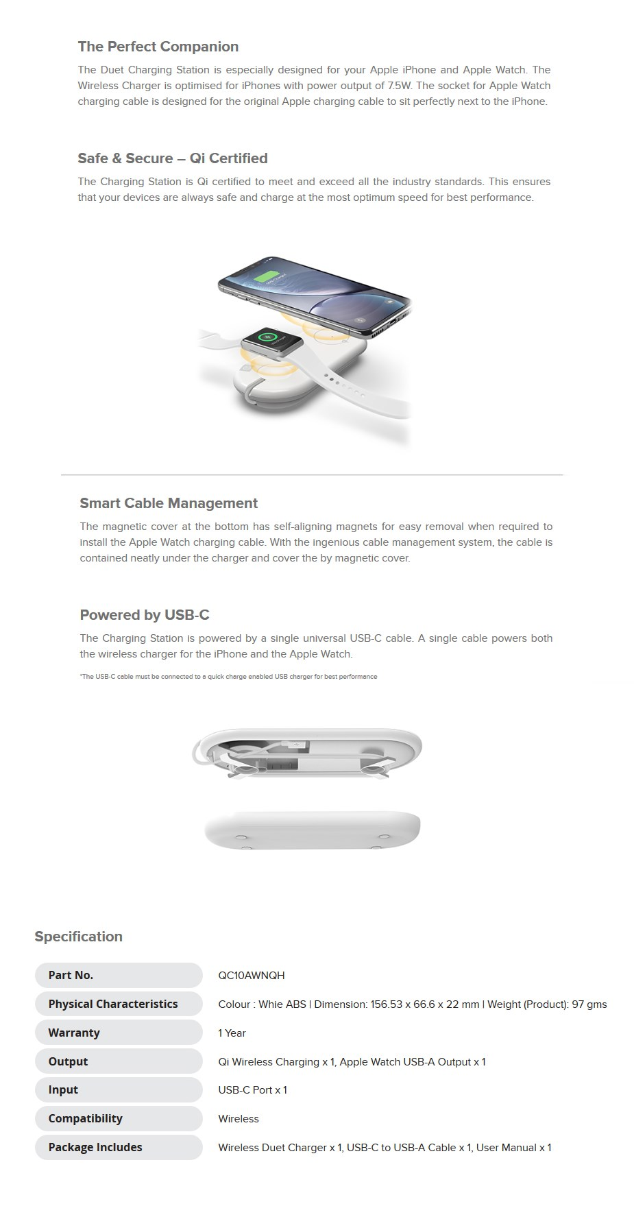 Alogic Wireless Duet Charging Station for iPhone & Apple Watch - White - Desktop Overview 2