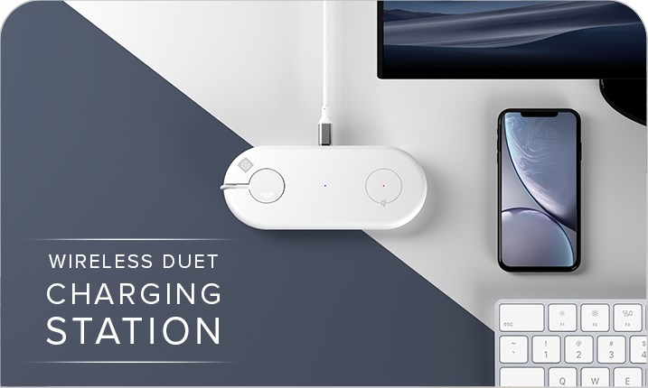 Alogic Wireless Duet Charging Station for iPhone & Apple Watch - White - Desktop Overview 1