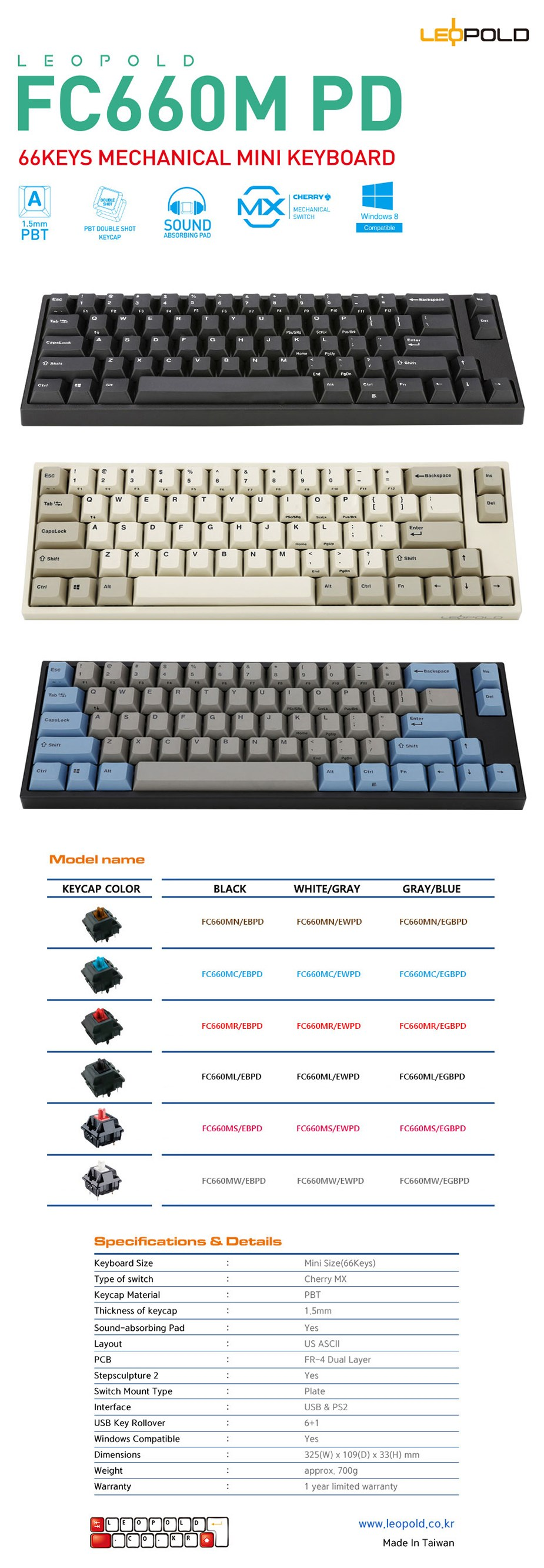 Leopold FC660M White/Gray PD Mini Mechanical Keyboard - Cherry MX Blue - Desktop Overview 1