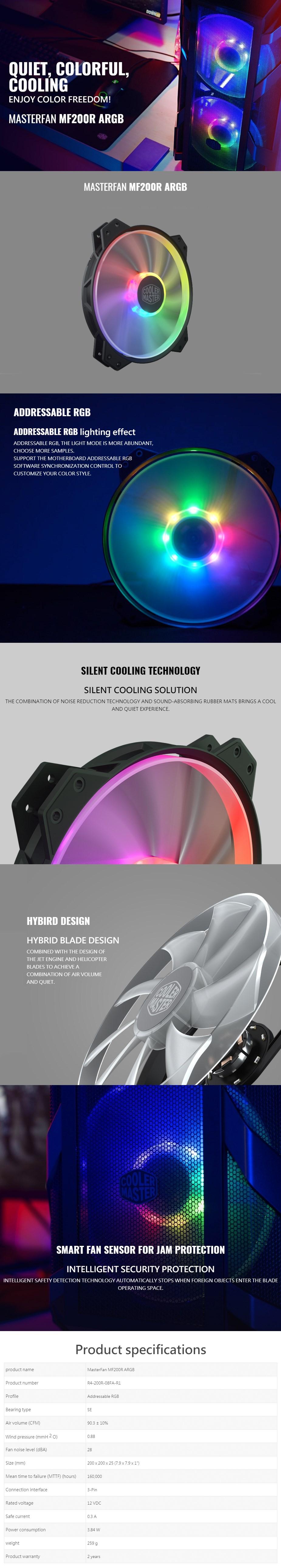 Cooler Master MasterFan MF200R ARGB 200mm Case Fan - Desktop Overview 1
