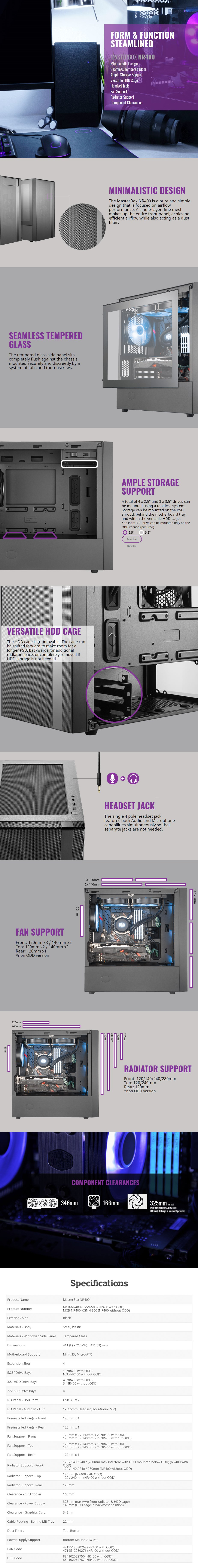Cooler Master MasterBox NR400 Tempered Glass Mid-Tower Micro-ATX Case - Desktop Overview 1