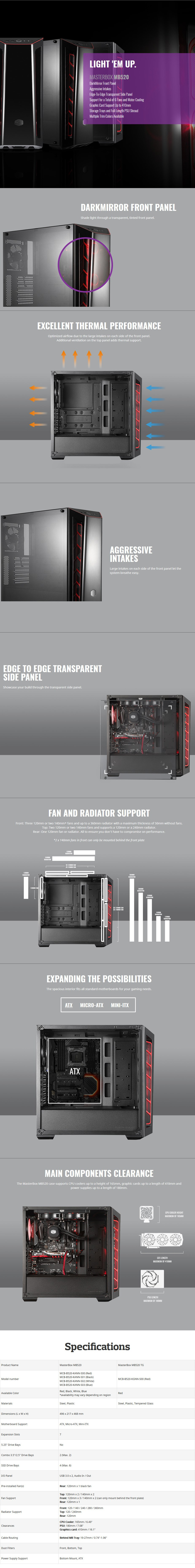 Cooler Master MasterBox MB520 Tempered Glass Mid-Tower ATX Case - Red - Desktop Overview 1