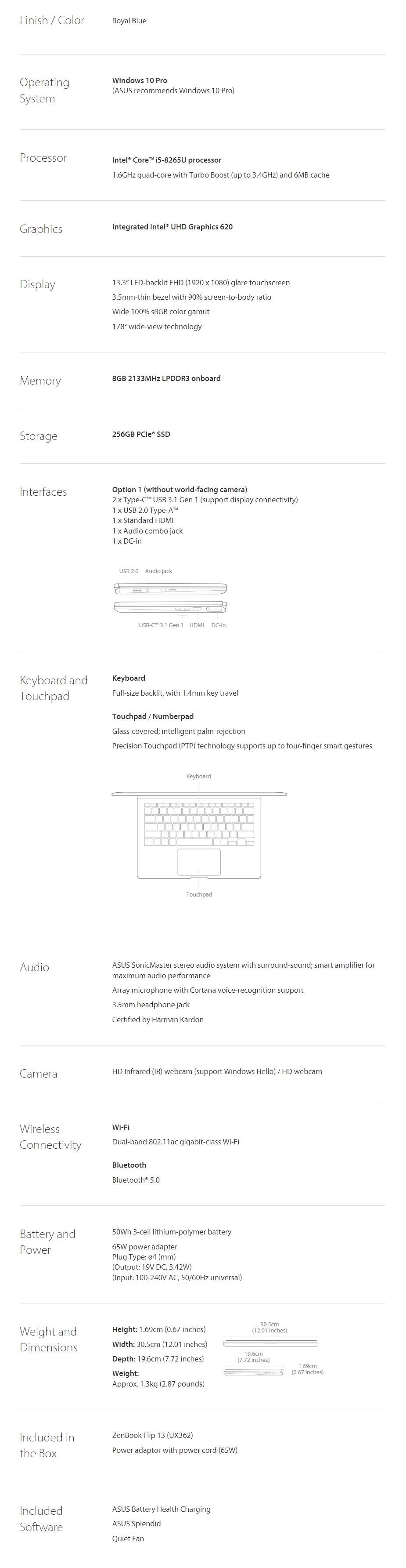 "ASUS ZenBook Flip 13 UX362FA 13.3"" Notebook i5-82665U 8GB 256GB Win10 Pro - Overview 2"