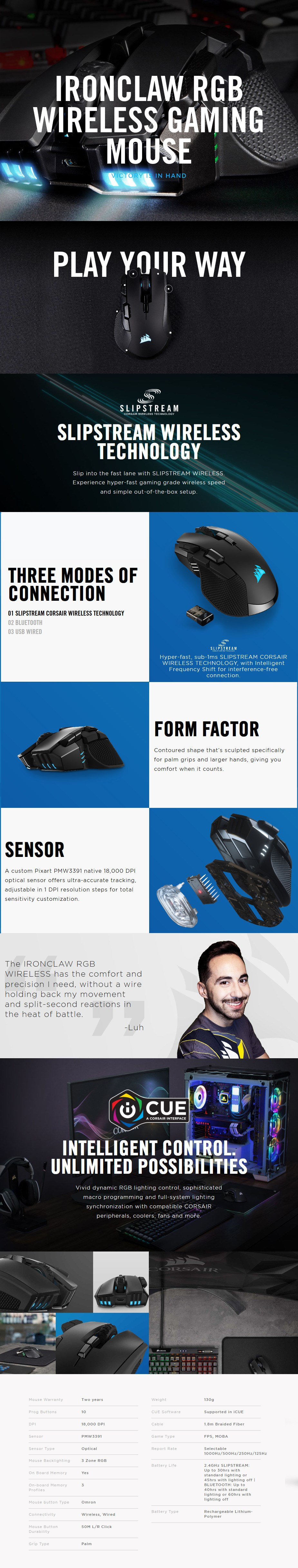 Corsair IRONCLAW RGB SLIPSTREAM Wireless Optical Gaming Mouse