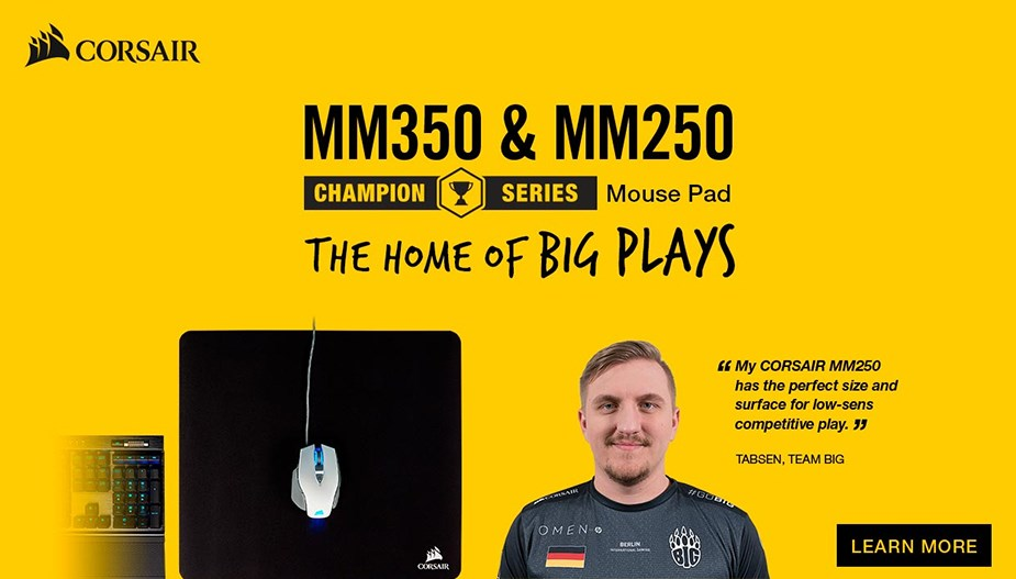 Corsair MM350 Champion Series Premium Anti-Fray Cloth Gaming Mouse Pad - X Large - Desktop Overview 1