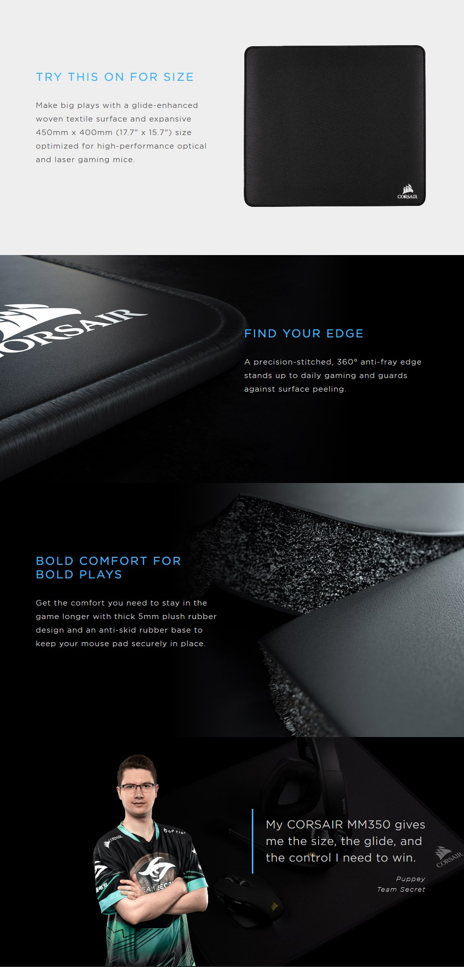 Corsair MM350 Champion Series Premium Anti-Fray Cloth Gaming Mouse Pad - X Large - Desktop Overview 2