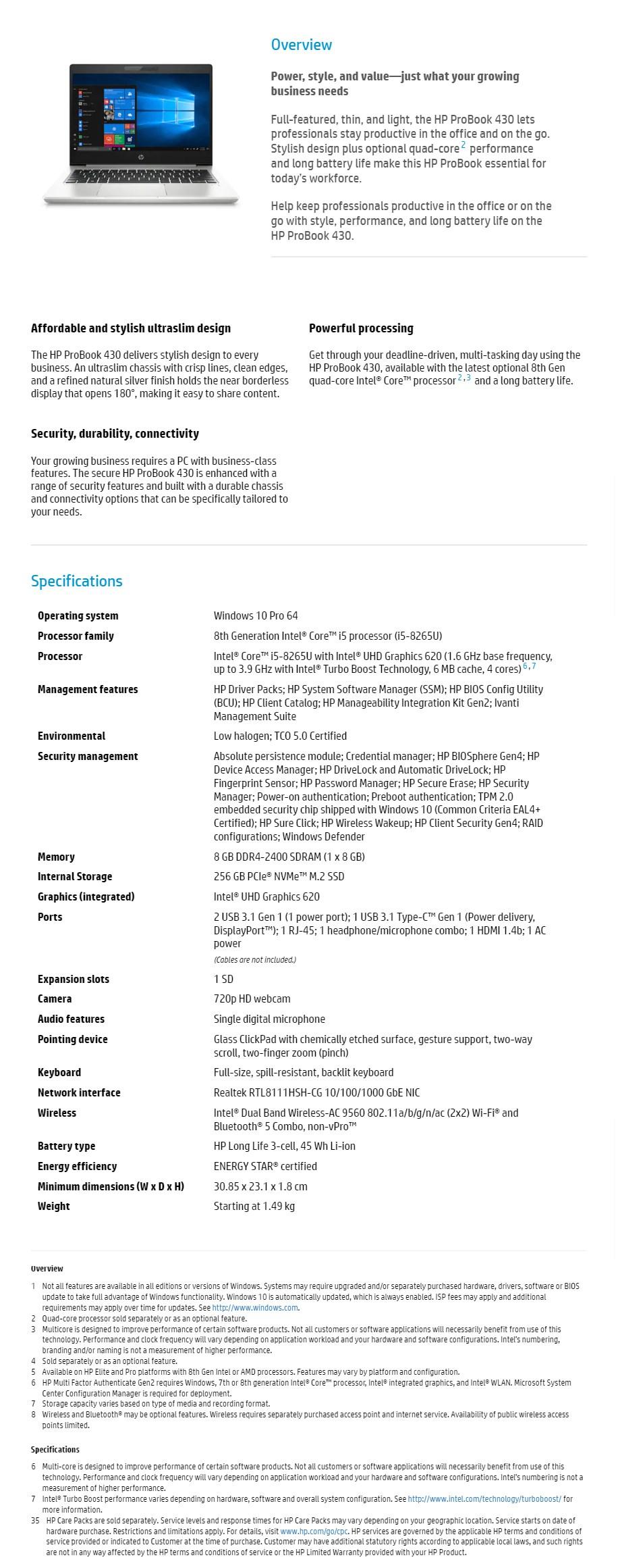 "HP ProBook 430 G6 13.3"" Notebook i5-8265U 8GB 256GB SSD Win10 Pro - Desktop Overview 1"