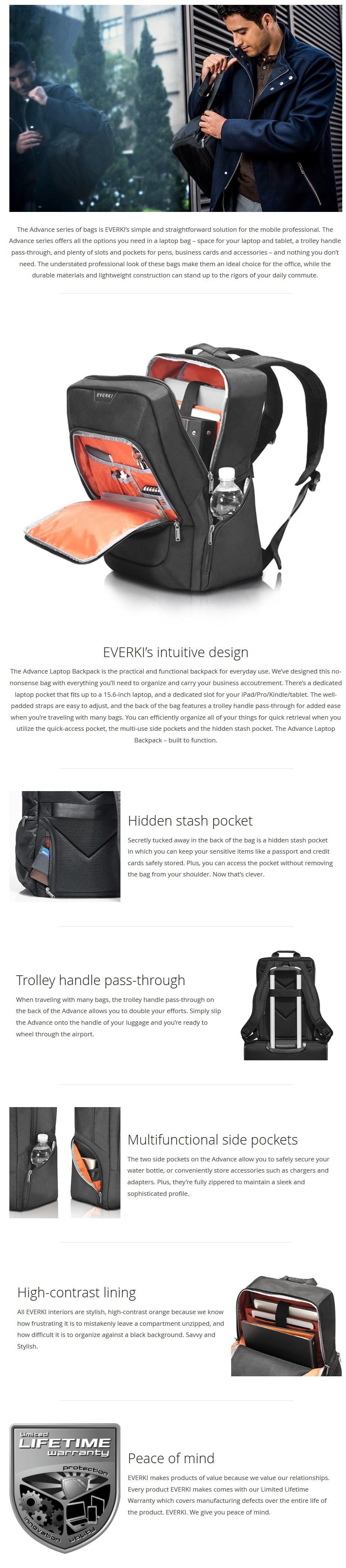 "Everki 15.6"" Advance Laptop Backpack - Desktop Overview 1"