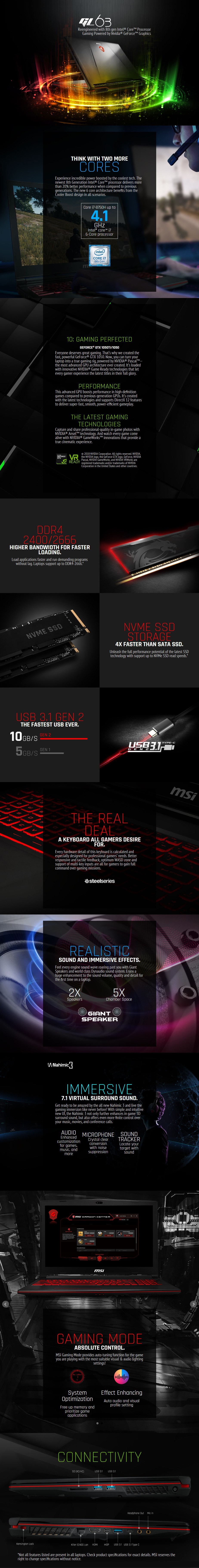 """MSI GL63 8RE-846AU 15.6"""" Gaming Laptop i7-8750H 16GB 512GB GTX1060 W10H - Desktop Overview 1"""