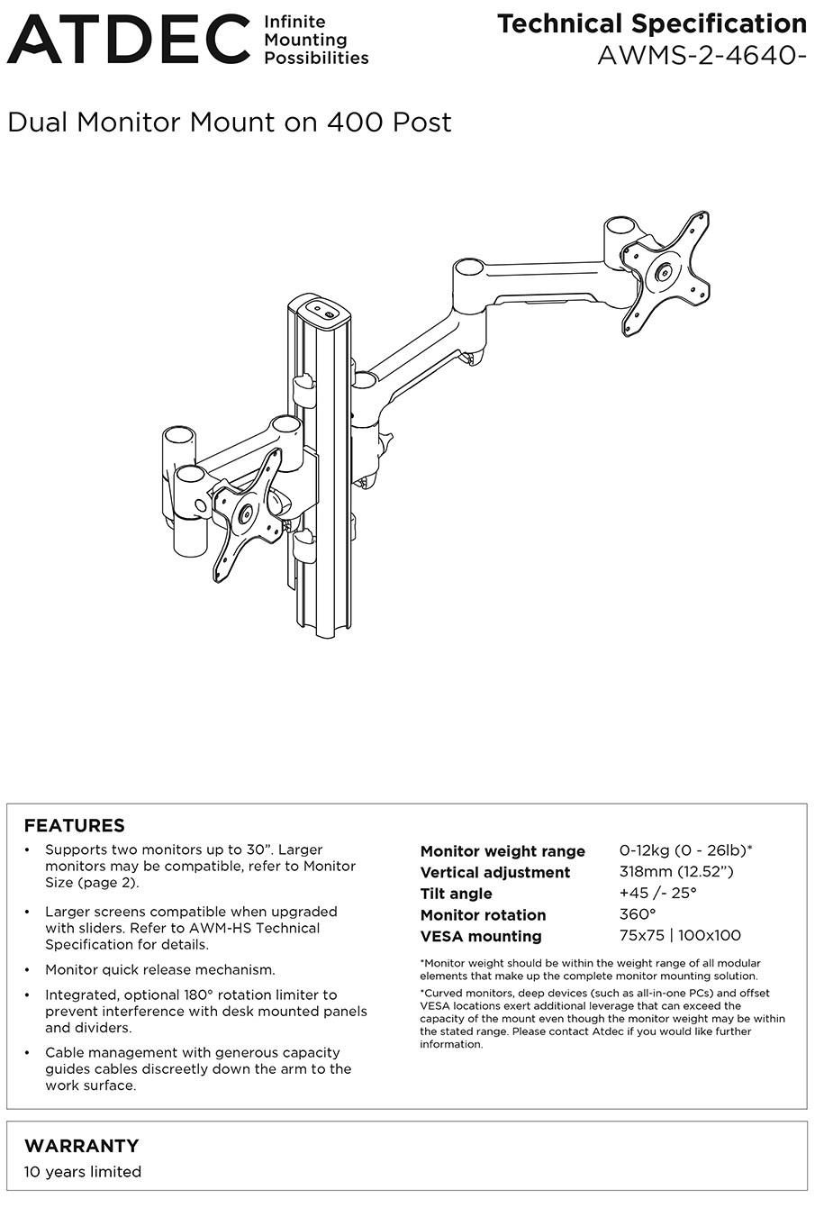 Atdec 400mm Post AWM Dual Monitor Arm Mount Solution - Matte Black - Desktop Overview 1