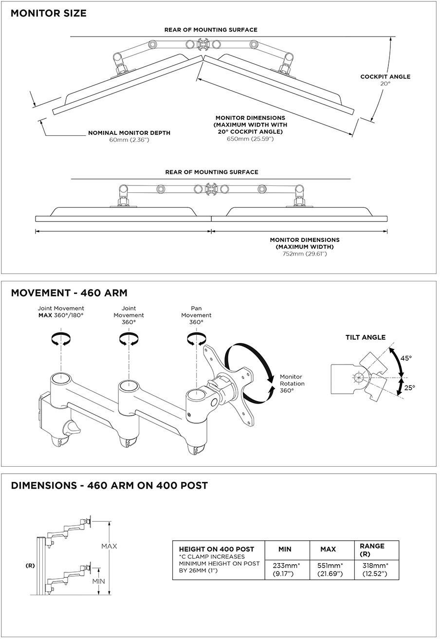 Atdec 400mm Post AWM Dual Monitor Arm Mount Solution - Matte Black - Desktop Overview 2