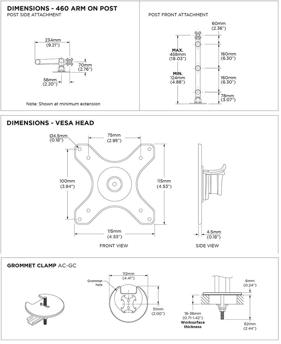 Atdec 400mm Post AWM Dual Monitor Arm Mount Solution - Matte Black - Desktop Overview 3