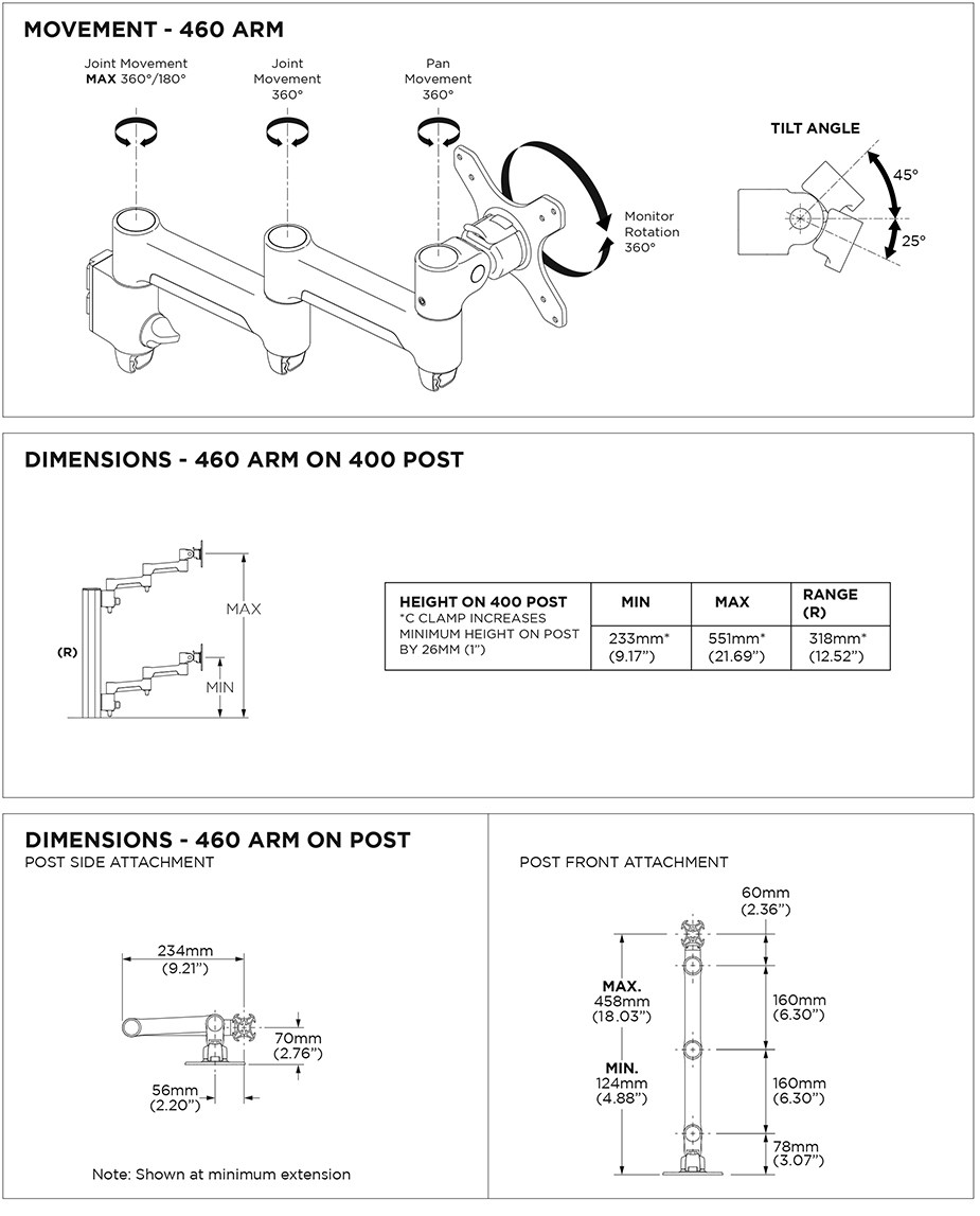 Atdec AWMS-4640 400mm Post Monitor Mount w/ Grommet - Matte Black - Desktop Overview 2