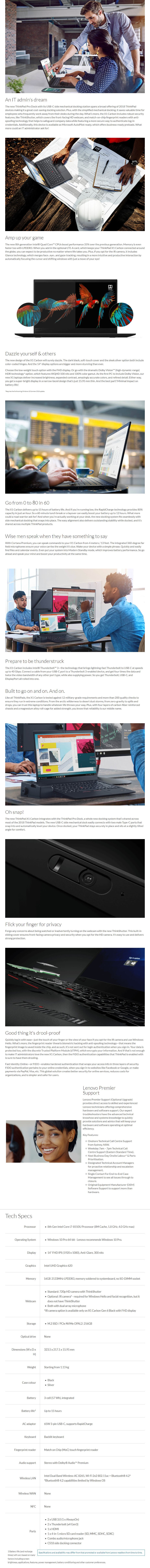 "Lenovo ThinkPad X1 Carbon Gen 6 14"" Notebook i7-8550U 16GB 256GB SSD Win 10 Pro - Overview 1"