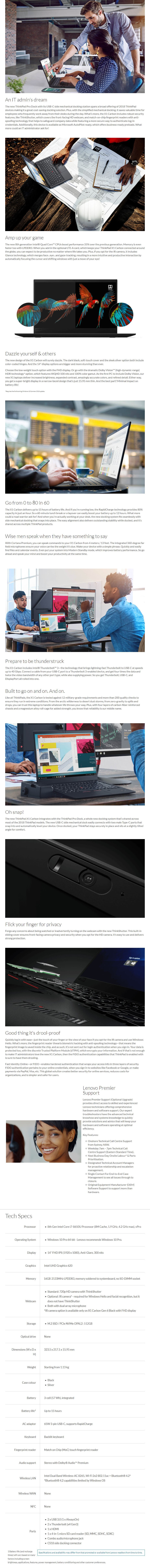 "Lenovo ThinkPad X1 Carbon Gen 6 14"" Notebook i7-8650U vPro 16GB 512GB SSD W10P - Overview 1"