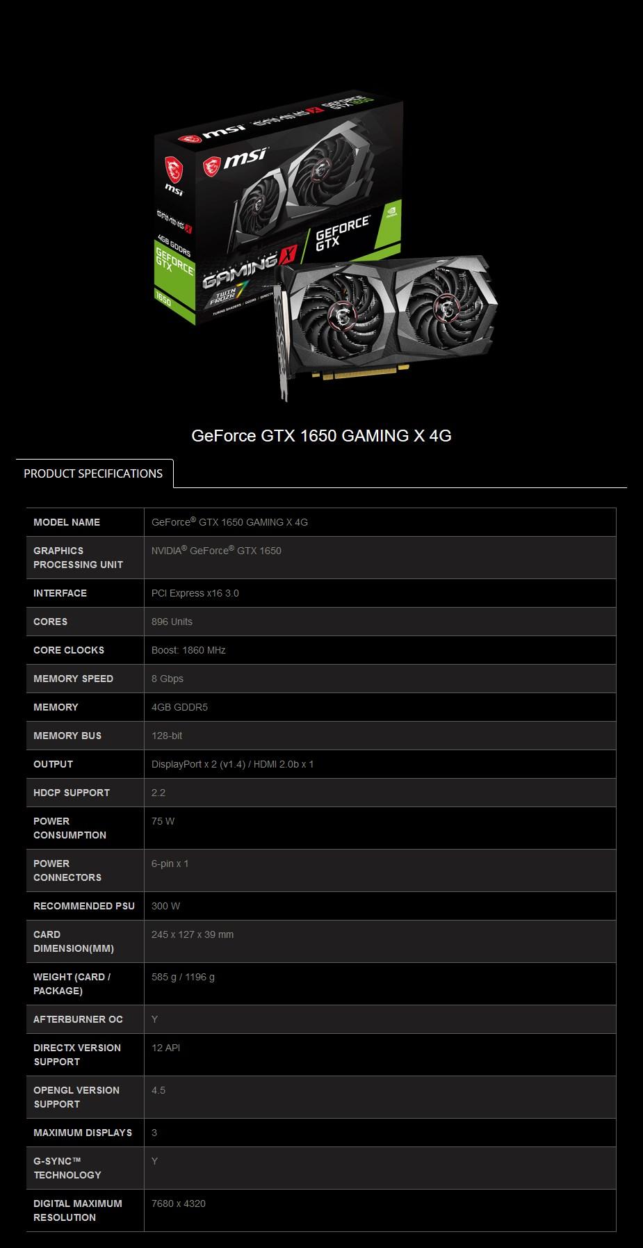 MSI GeForce GTX 1650 Gaming X 4GB Video Card - Desktop Overview 2
