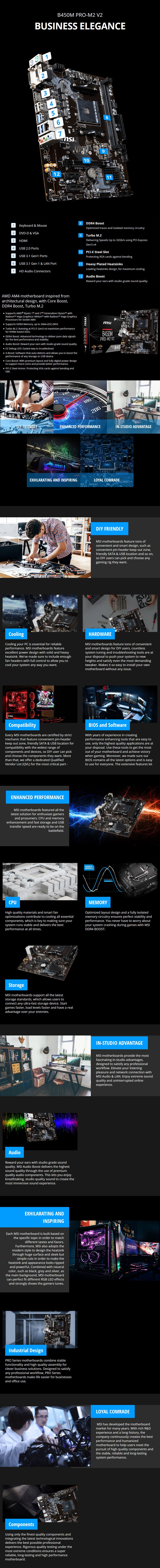 MSI B450M PRO-M2-V2 AM4 M-ATX Motherboard - Desktop Overview 1