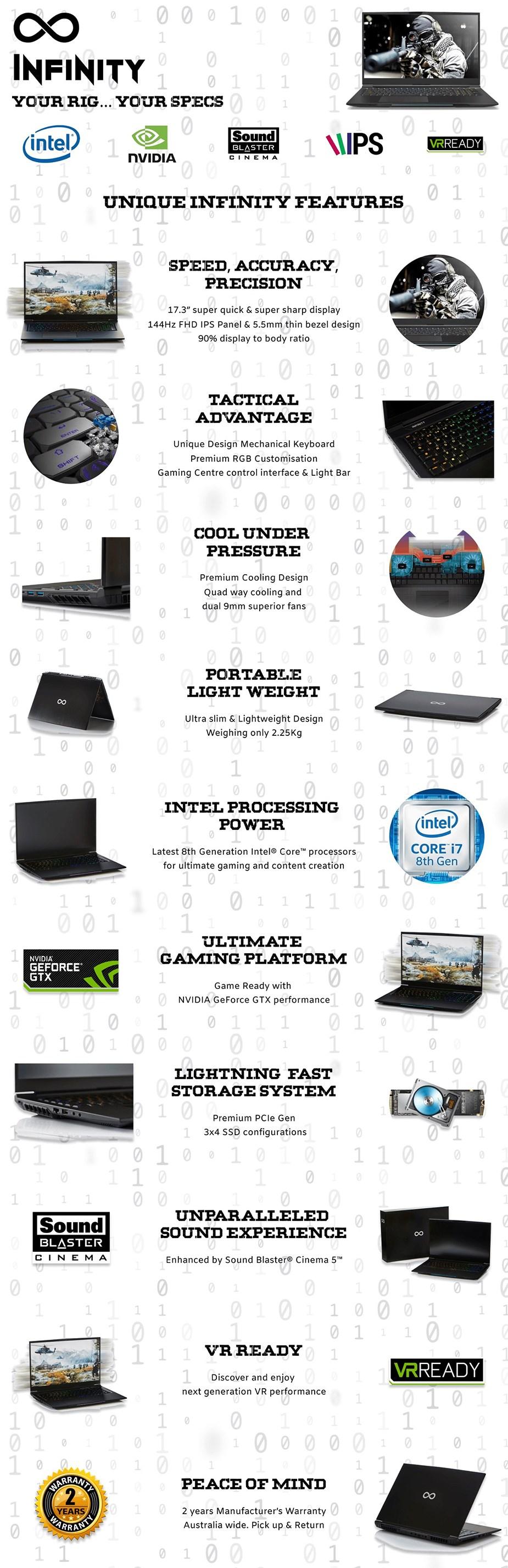 "Infinity S2070-B01 17.3"" 144Hz Gaming Laptop i7-8750H 16GB 512GB+1TB RTX2070 W10 - Desktop Overview 1"