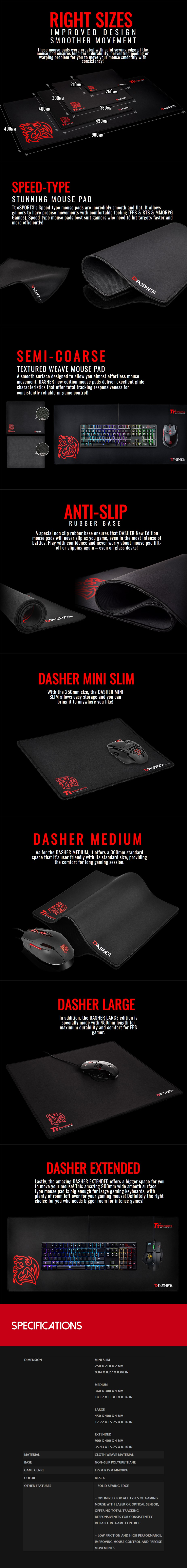 TT eSPORTS Dasher Cloth Gaming Mouse Pad - Medium - Desktop Overview 1