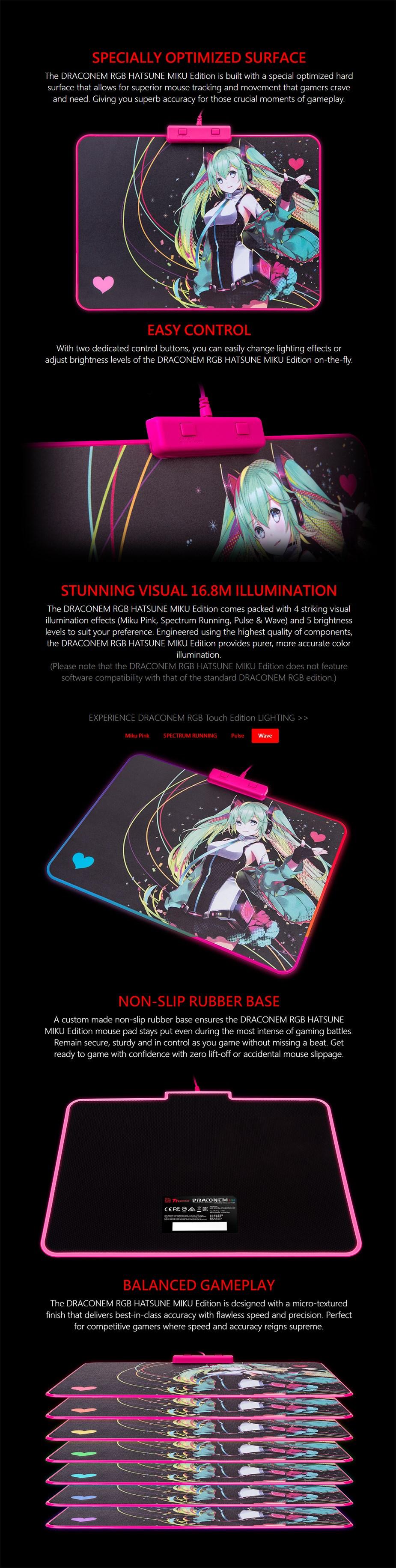 Tt eSPORTS Draconem RGB Hard Mouse Pad - Hatsune Miku Edition - Desktop Overview 1