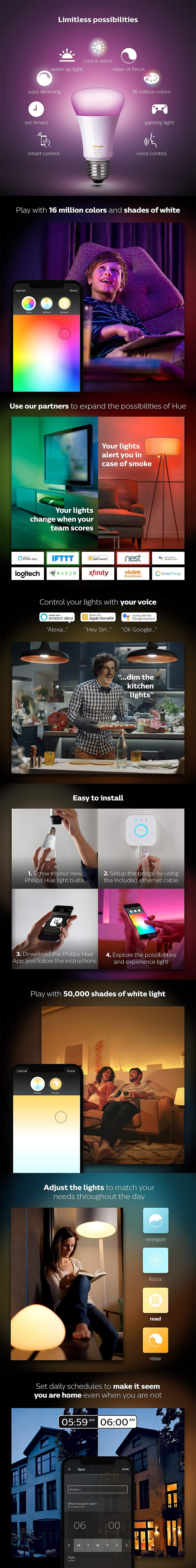 Philips Hue White/Colour Ambiance Smart Bulb Starter Kit - Edison Fitting - Desktop Overview 1