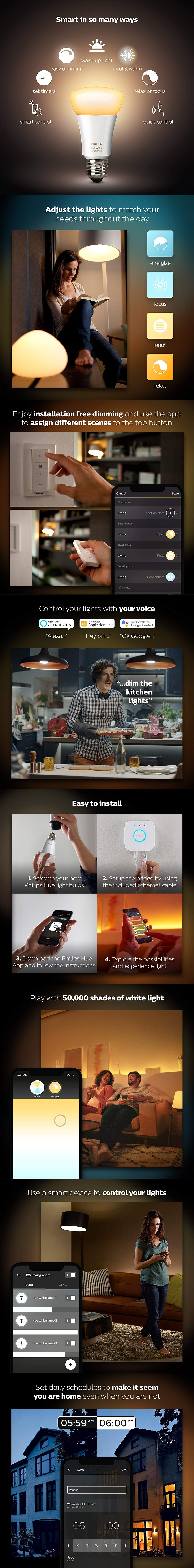 Philips Hue White Ambience Smart Bulb Starter Kit - Edison