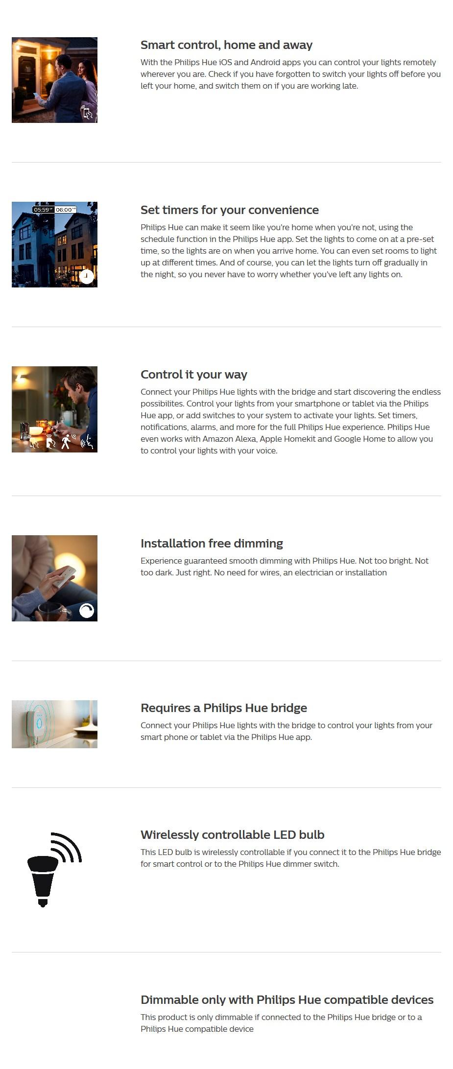 Philips Hue White LED Smart Bulb - Bayonet Clip - Desktop Overview 1