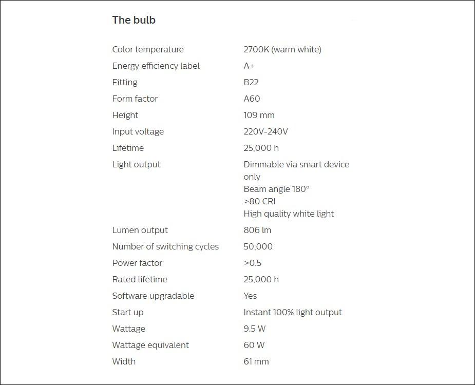Philips Hue White LED Smart Bulb - Bayonet Clip - Desktop Overview 2