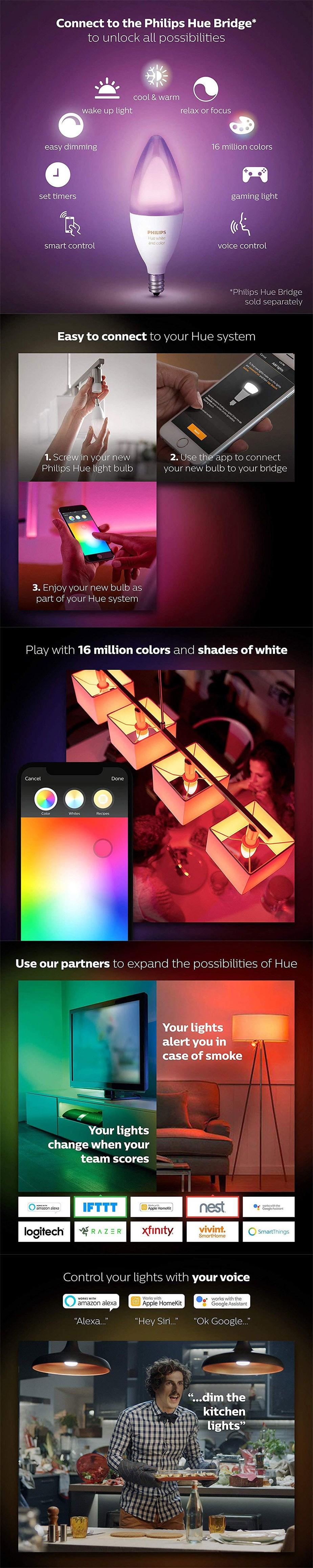 Philips Hue White/Colour Ambience LED Smart Bulb - E14 Candle Globe - Desktop Overview 1