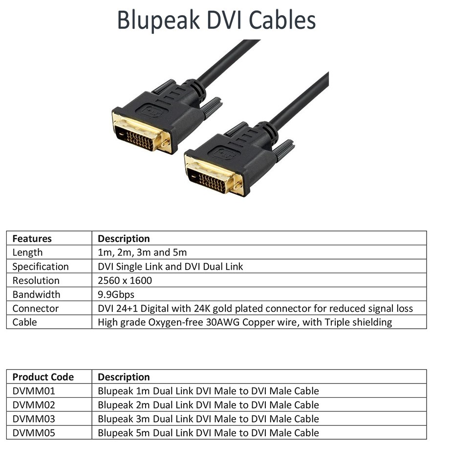 Blupeak 2m Dual Link DVI Male to DVI Male Cable - Desktop Overview 1