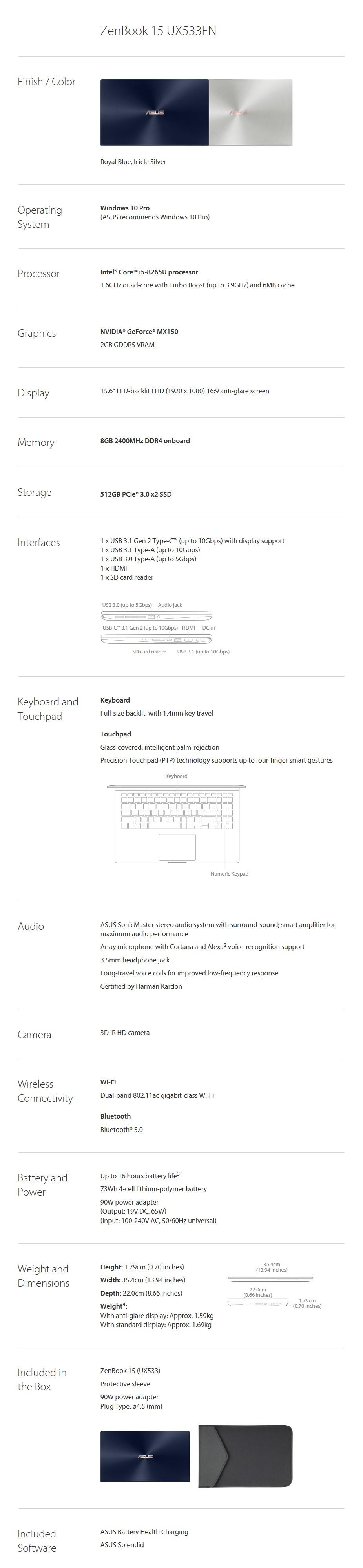 """ASUS ZenBook 15 UX533FN 15.6"""" Notebook i5-8265U 8GB 512GB MX150 Win10 Pro - Desktop Overview 2"""