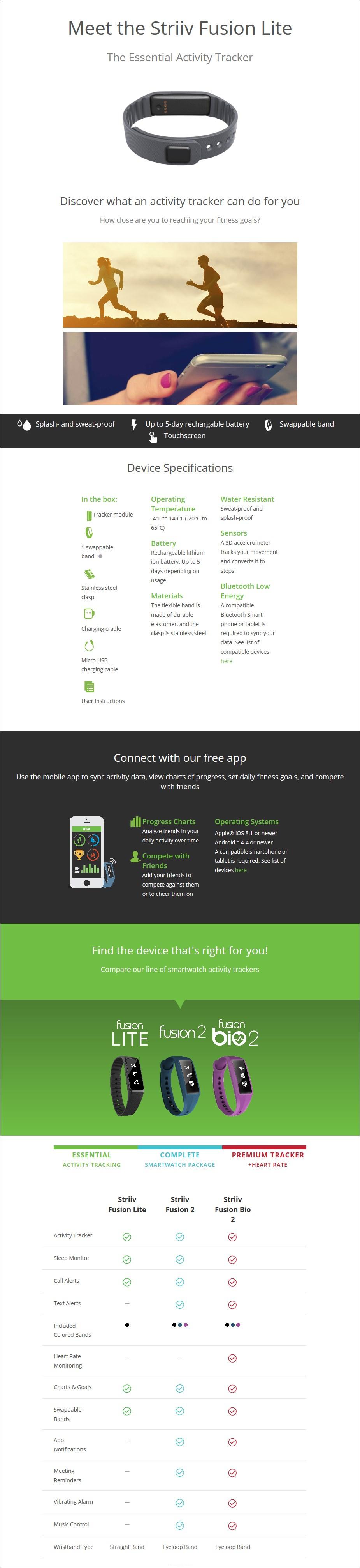 Striiv Fusion Lite Fitness Tracker - Desktop Overview 1